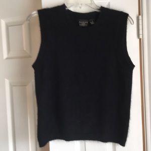 Black nylon/angora sweater vest